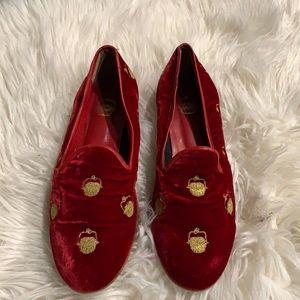 Vintage Zalo Nantucket basket red velvet shoes